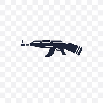 AK 47 transparent icon. AK 47 symbol design from Army collection. Simple element vector illustration. Can be used in web and mobile.