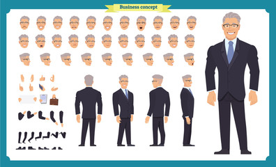Front, side, back view animated character. Manager character creation set with various views, hairstyles, face emotions, poses and gestures. Cartoon style, flat vector illustration.People