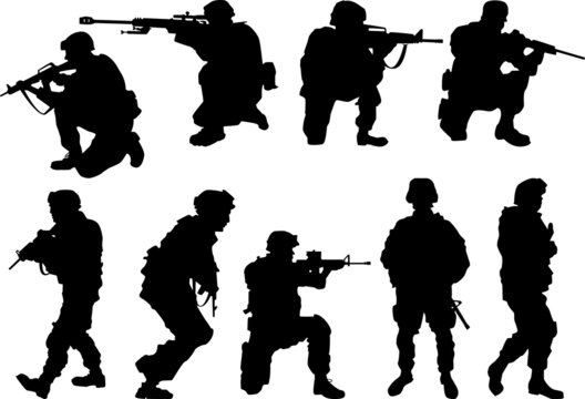 USA. army soldiers with rifle silhouette vector collection.