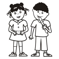 Girl and boy with melon and lollipop, coloring book, vector illustration