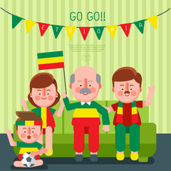 Happy family cheering sport with national flag : Ethiopia : Vector Illustration