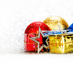 Christmas gifts and decorative balls