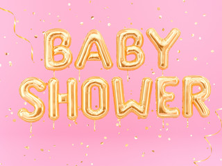 Baby Shower banner balloon golden text on pink background, 3d rendering
