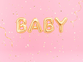 Baby word balloon golden text on pink background, 3d rendering