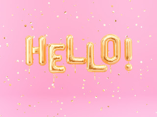 Hello beautiful banner balloons gold text on pink confetti background, 3d rendering