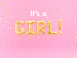 It is a Girl banner balloon golden text on pink background, 3d rendering