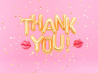 Thank You banner gold inflatable letters on pink background, 3d rendering