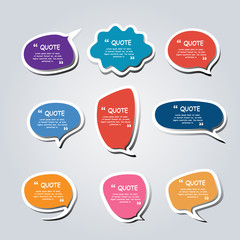 Colored text bubble set speech box vector template design