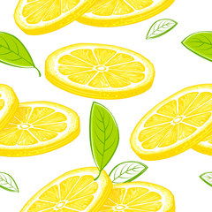 Lemon seamless pattern. Colorful sketch lemons. Citrus fruit background. Elements for menu, greeting cards, wrapping paper, cosmetics packaging, posters etc