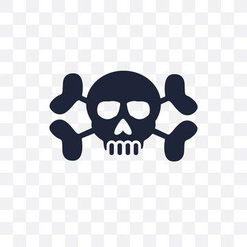 Human skull with crossed bones transparent icon. Human skull with crossed bones symbol design from Human Body Parts collection. Simple element vector illustration. Can be used in web and mobile.