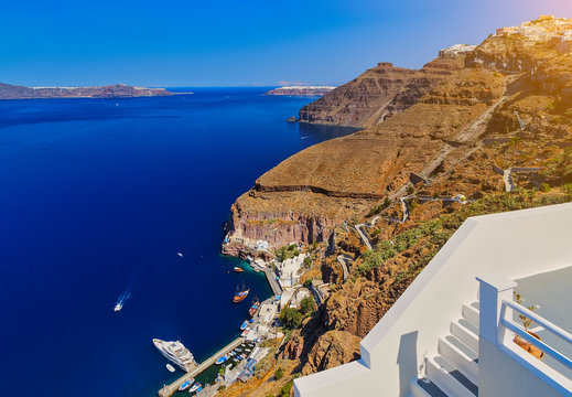 To get from Santorini old port to Fira you have two transfer options, cable car or donkey ride. Santorini classically Thera and officially