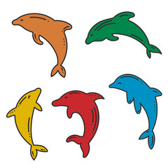 Set of doodle dolphin