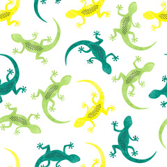 Seamless vector pattern with colorful watercolor lizards.