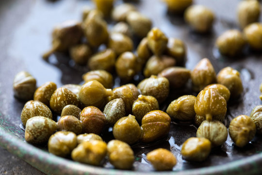 Close up capers served on plate