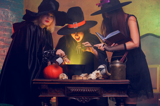 Image of three witches of potion in cauldron