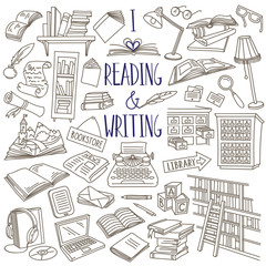 Reading and writing doodle set. Books, magazines, newspapers, letters, piles of books, library catalog, bookshelf, typewriter. Hand drawn vector illustration isolated on white background
