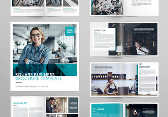 Square Brochure Layout with Teal Accents