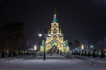 Church of the Holy Martyr Tatiana in Russia lit at night in winter