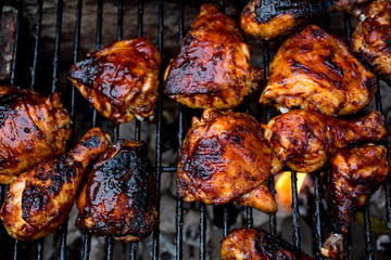 Close up of barbecue chicken on barbecue grill
