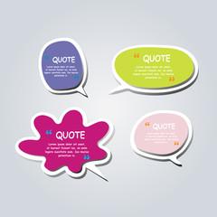 Colored text bubble set speech box vector template design