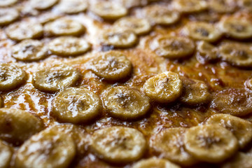 Close up of banana slices with caramel