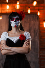 Image of zombie girl with white make-up on her face