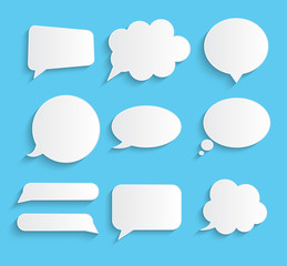 White blank retro speech bubbles set on blue background. Vector Illustration