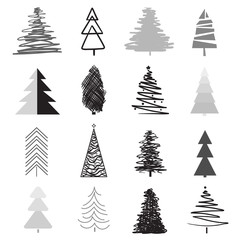 Christmas trees on white. Set for icons on isolated background. Geometric elements. Holiday objects for flyers, posters, t-shirts and textiles. Black and white illustration