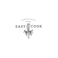Vector hand drawn object. Kitchen logo template, whisk with flowers.
