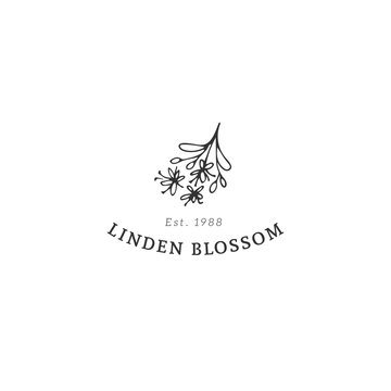 Kitchen logo template, linden blossom. Vector hand drawn object.