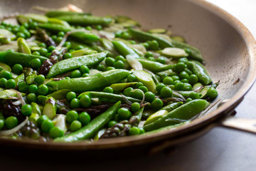 Close up of green peas in pan