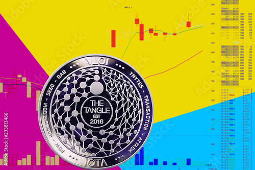 Coin cryptocurrency bitcoin sv on chart and yellow blue neon