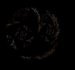 White brown fractal on black background. Fantasy fractal texture. Digital art. 3D rendering. Computer generated image.
