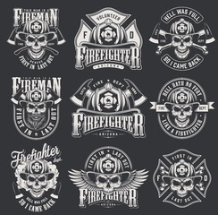 Vintage firefighter logos collection
