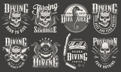 Vintage monochrome diver labels collection