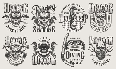 Vintage monochrome diving logos set