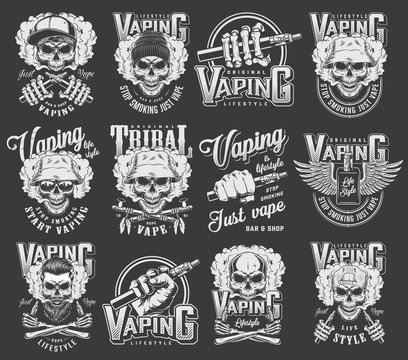 Vintage vaping logotypes collection