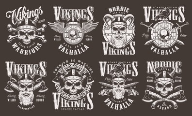Vintage viking emblems collection