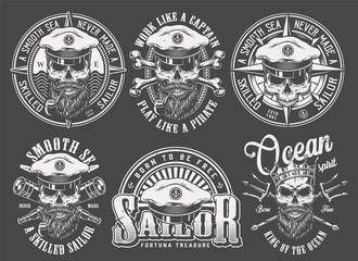 Vintage monochrome sailing and marine emblems