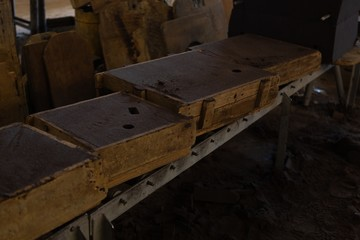 Molds arranged in foundry