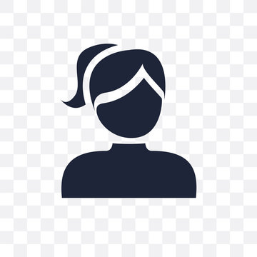 Girl face with ponytails transparent icon. Girl face with ponytails symbol design from People collection.
