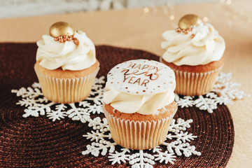 festive dessert cupcakes with new year decor