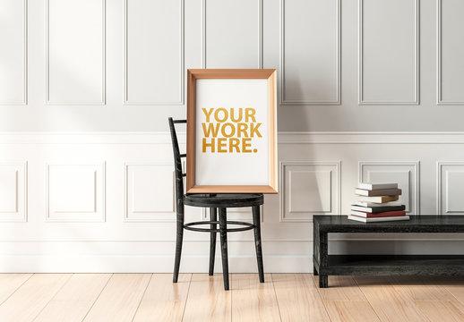 Golden Framed Poster Mockup