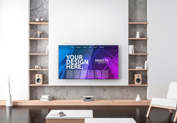 Smart TV Hanging on Wall Mockup