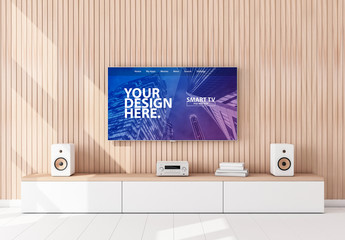 Smart TV Hanging on Wooden Wall Mockup
