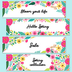 Cute set of Spring Flowers horizontal banners