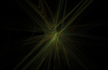 Red yellow green fractal on black background. Fantasy fractal texture. Digital art. 3D rendering. Computer generated image.