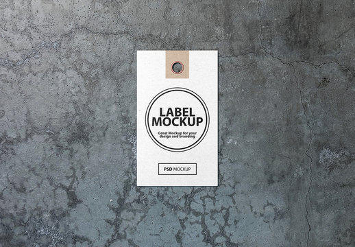 Tag Label on Concrete Surface Mockup