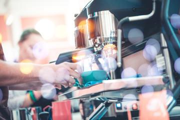 Barista preparing coffee concept