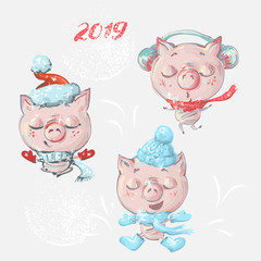 Vector set with funny cute cartoon pigs for New year and Christmas